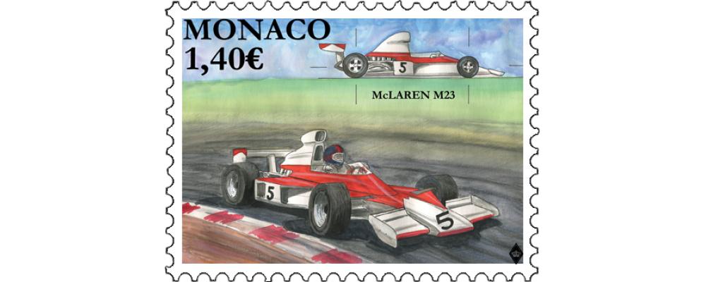 摩纳哥3月4日发行传奇赛车-MC LAREN M23邮票