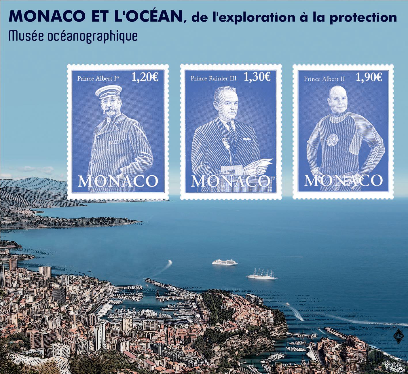 摩纳哥7月6日发行摩纳哥和海洋-从探索到保护展览小全张