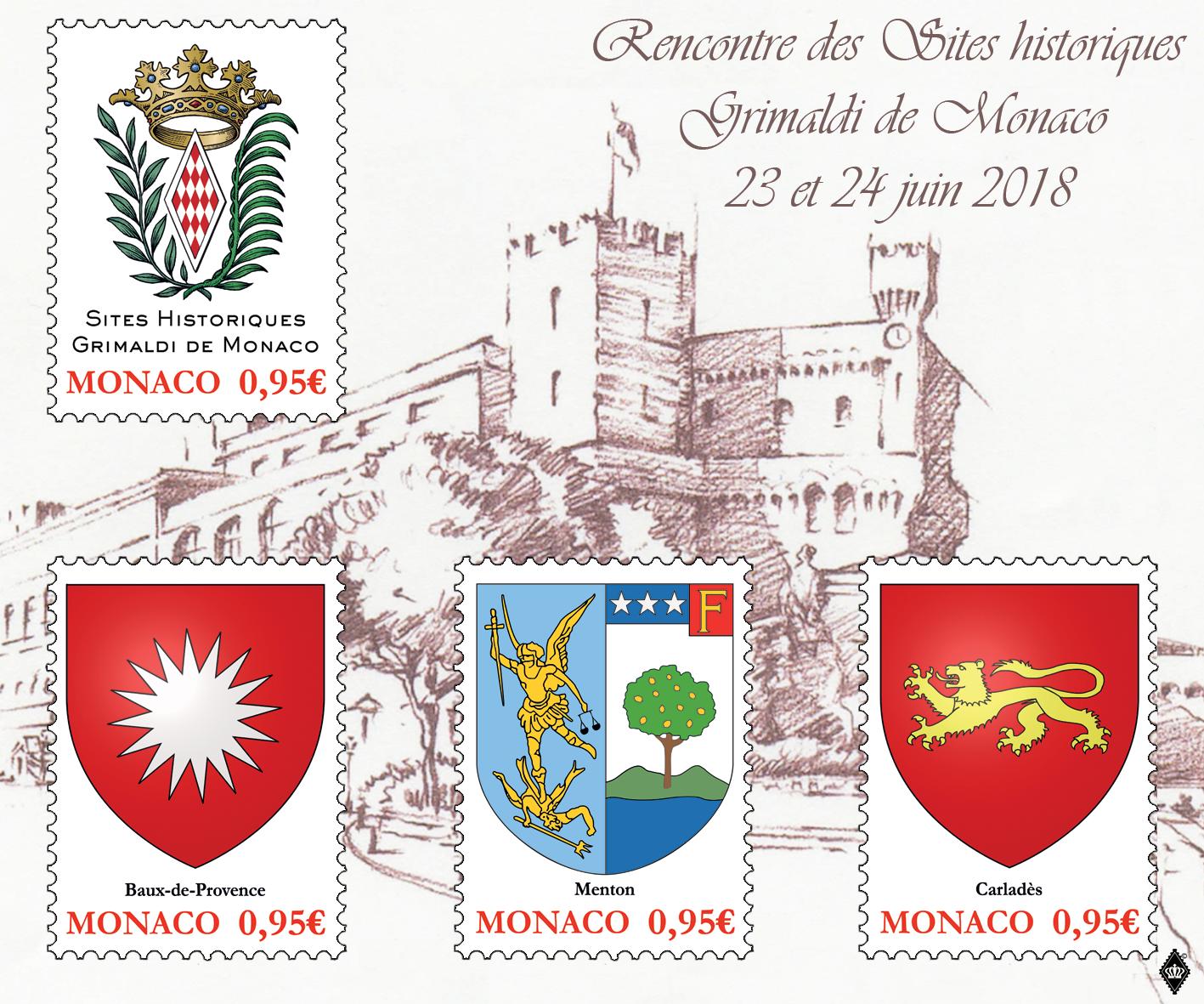 摩纳哥6月23日发行摩纳哥格里马尔迪历史遗址小全张