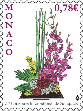 摩纳哥3月7日发行第51届国际花束比赛邮票