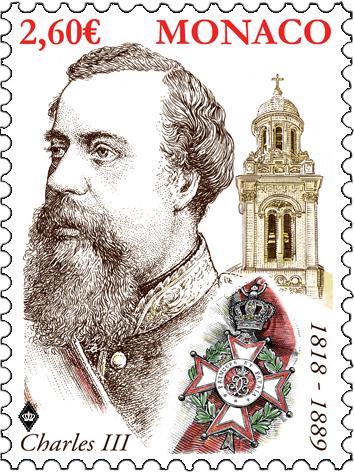 摩纳哥7月18日发行查尔斯三世诞辰200周年邮票