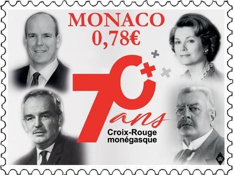 摩纳哥3月5日发行摩纳哥红十字70周年邮票