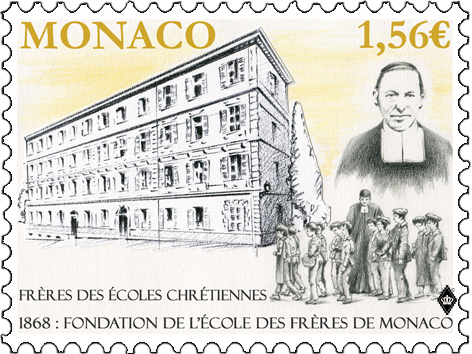摩纳哥4月10日发行摩纳哥兄弟学校150周年邮票