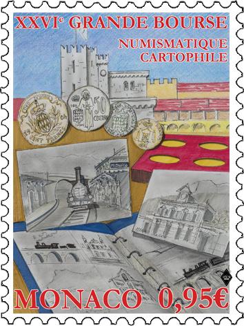 摩纳哥8月9日发行第26届邮票钱币交易会邮票