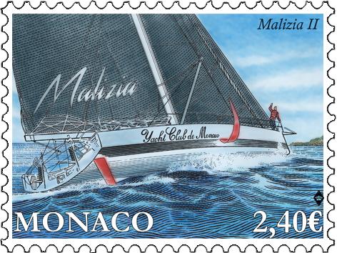 摩纳哥9月10日发行YACHTING - MALIZIA II邮票
