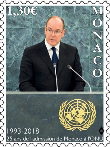摩纳哥5月28日发行摩纳哥被接纳为联合国会员25周年周年