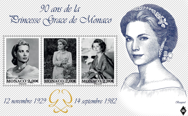 摩纳哥6月18日发行摩纳哥王妃格蕾丝诞辰90周年小全张