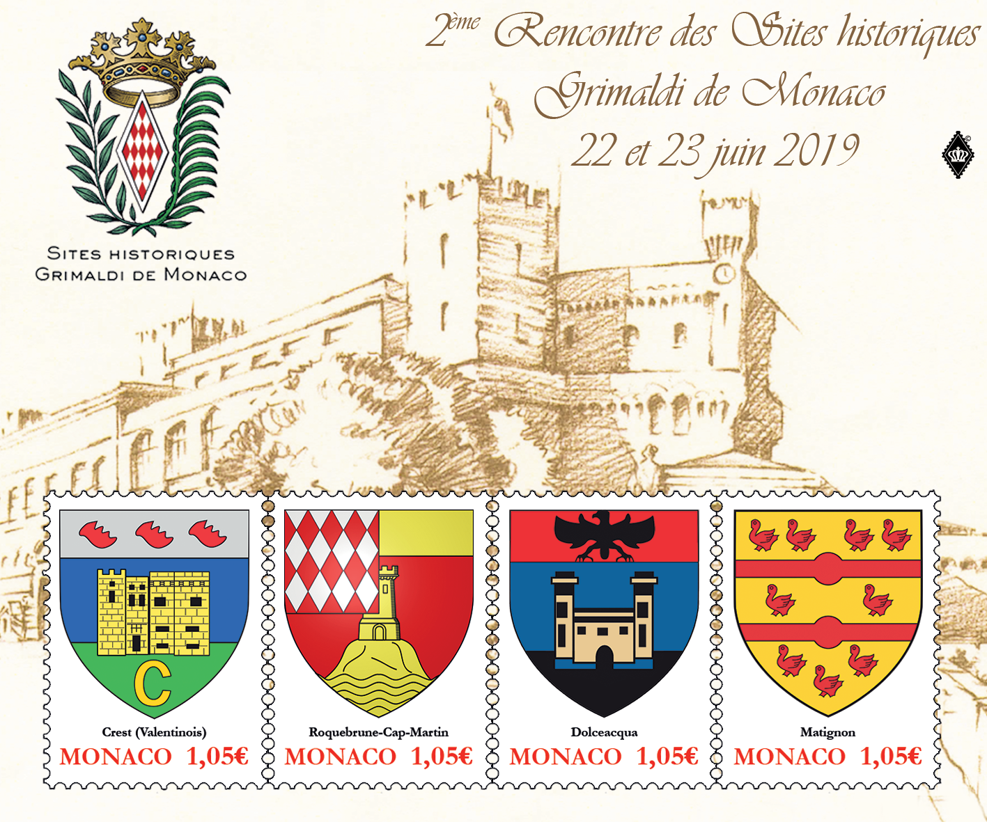 摩纳哥6月22日发行格里马尔迪历史文化遗产小全张