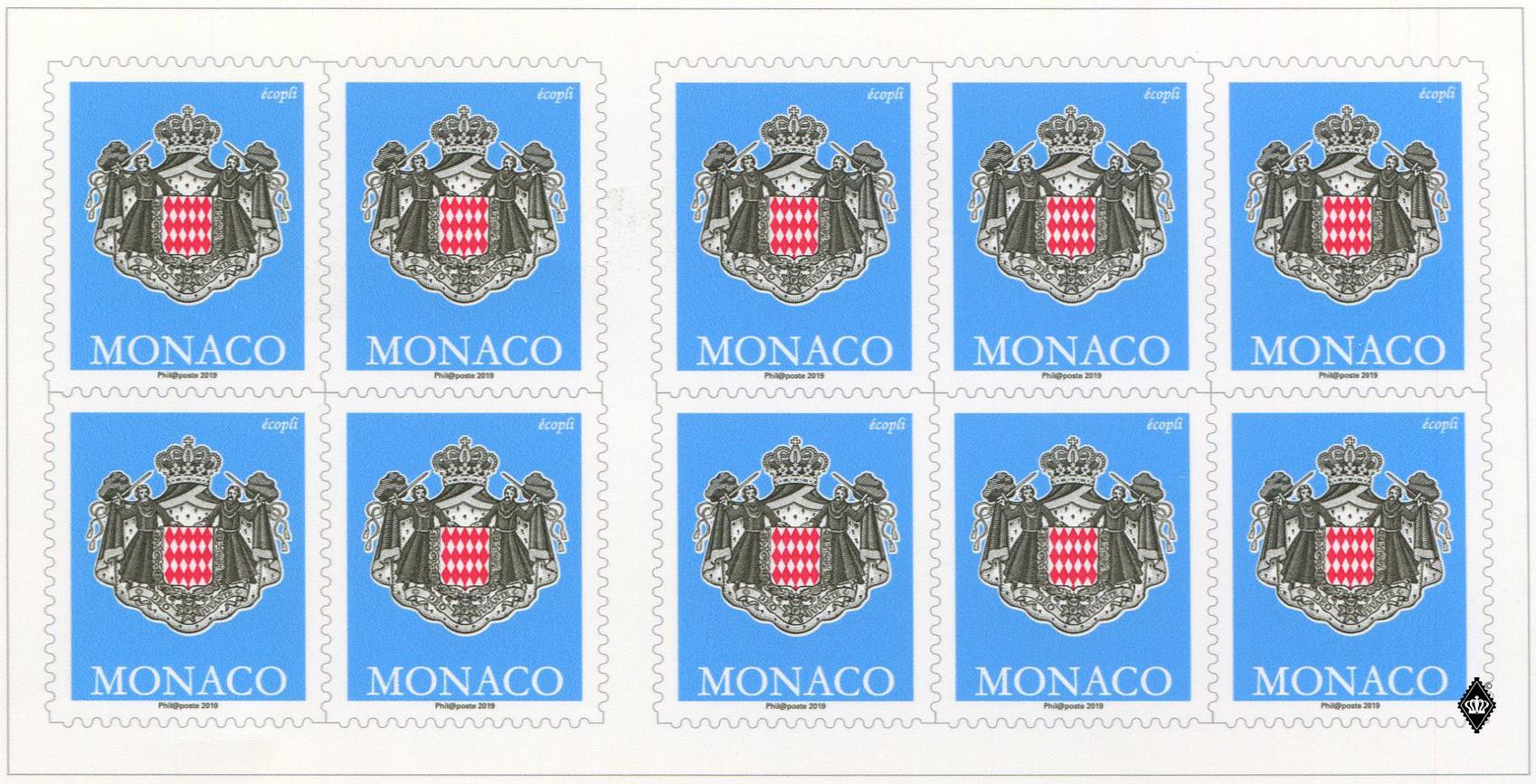 摩纳哥5月6日发行新版20G寄往摩纳哥和法国邮资不干胶邮票