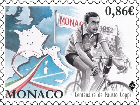 摩纳哥5月29日发行Fausto Coppi诞辰100周年邮票