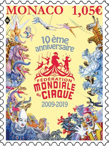 摩纳哥19年1月4日发行世界马戏团联合会10周年邮票