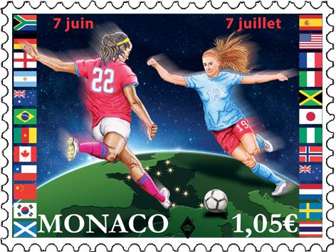 摩纳哥5月29日发行2019女足世界杯邮票