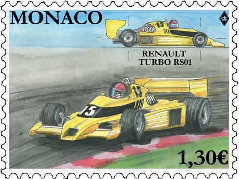 摩纳哥2月5日发行赛车神话 - 雷诺RS01邮票