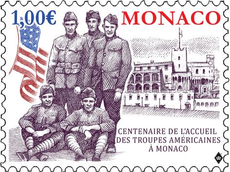 摩纳哥3月15日发行摩纳哥美军之家100年邮票